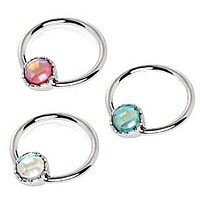 316L Stainless Steel Rainbow Rhinestone Captive Bead Ring Nipple Jewelry