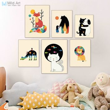 Colorful Kawaii Animals Friend Bear Dog Cat Poster Prints Nordic Baby Room Wall Art Pictures Home Decor Canvas Painting Custom