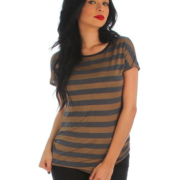LT BROWN NAVY STRIPED TEE WITH SIDE RUCHING