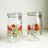 French Glass Jar, 1970s Red Poppy Country Kitchen Glass Canisters, Floral Jar with Wire Bail Lid, CLEARANCE!