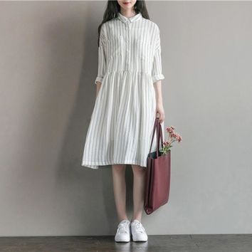 Today Plus 2017 Women Dresses Fashion Striped Turn-Down Collar Long Sleeve Loose Midi Cotton Ladies Casual Party Dress Vestidos