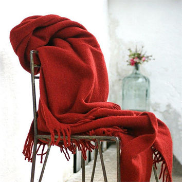 Wool Throw Blanket,Claret Red,throw Blanket,Wool Blanket,Red Blanket,