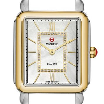 Women's MICHELE 'Deco II Diamond' Diamond Dial Watch Case 30 x 32mm - Gold/ Silver