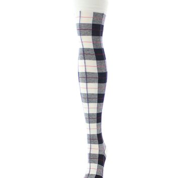 Famous Tartan Plaid Over The Knee Warm Socks
