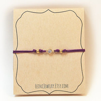 Purple bracelet with rhinestone, minimalist bracelet, friendship bracelet