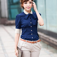 Fashion Lady Stand Collar Long Sleeve Button Shirt Chiffon Womens OL Tops Blouse