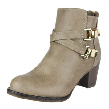 Womens Ankle Boots Strappy Buckle Accent Casual High Heel Shoes Taupe SZ