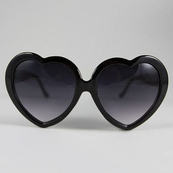 Black Heart Sunglasses With Red Fimo Resin Rose1950's Kitsch Upcycled