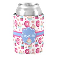 Cute Pink & Blue Donuts and Cupcakes Personalized Can Cooler