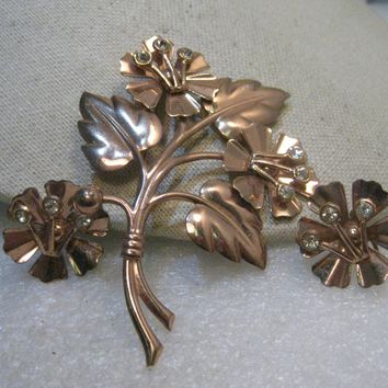 "Vintage Sterling Copper Floral Brooch, Matching Earrings Rhinestone Accents, 3.5"", 1940's, 16.62gr."
