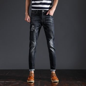 Men Korean Stylish Slim Stretch Pants Jeans [10869558019]