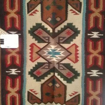 """Navajo Tec Nos Pos Design Tapestry, Hand Loomed, Master Weaved, 100% Wool,  24"""" by 36""""  Great Investment!"""