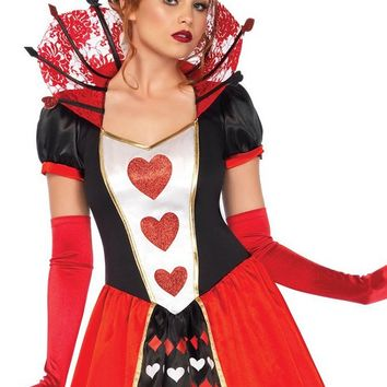 Dark Queen Black Red White Heart Pattern Short Puff Sleeve Lace Collar V Neck Ball Gown Maxi Dress Halloween Costume