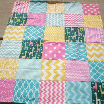 Modern baby quilt,Teal,Aqua,pink,yellow,giraffe baby quilt blanket,Baby girl bedding,blanket,baby quilt blanket,patchwork baby quilt,chevron