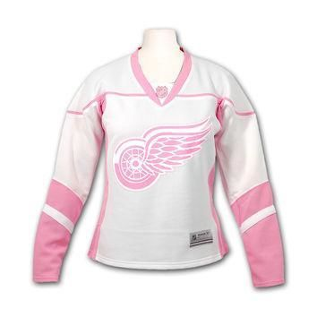 NHL Reebok Detroit Red Wings Girl's Fashion Replica Pink Jersey