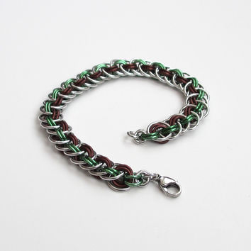 Viper basket chainmaille bracelet, mint green and brown