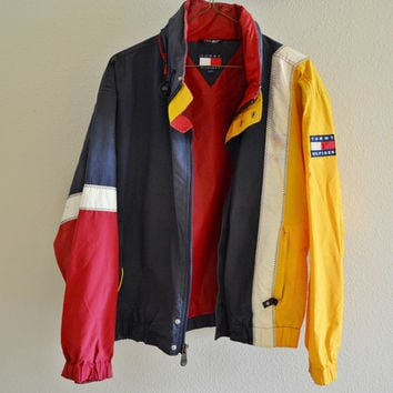 Red Yellow Blue White Tommy Hilfiger Windbreaker Jacket Vintage 90s Oversized XL