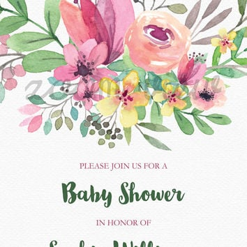Printable Baby Shower Invitation, 5x7 Inch, Watercolor Flowers, Colorful Flowers, Baby Girl Baby Shower, Personalize, Pink and Green Invite