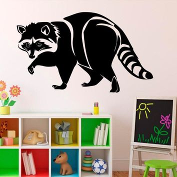 Free Delivery Wild Animals Decal Raccoon Stickers Vinilos Decourativos Wall Stickers for kids rooms Stencils For Walls  SYY012