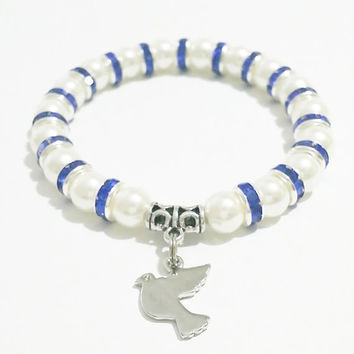 Dove Jewelry / Dove Charm Bracelet / Blue and White Jewellery / Dove Bracelet / Pearl Dove Jewelry / Bracelet de Colombe / Pulsera Paloma