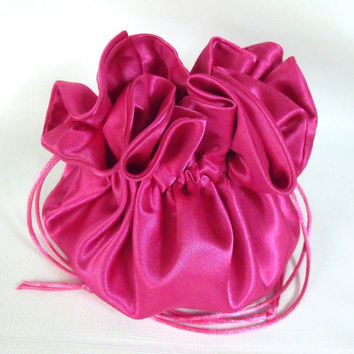 Dollar Dance Bag, Wedding Bag,  Satin Bridal Money Purse Fuchsia  No Pockets