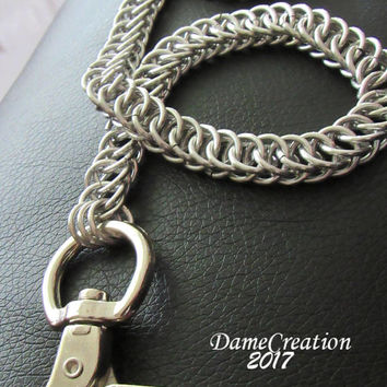 Silver Wallet Chain - Chainmaille Wallet Chain - Trucker Wallet Chain - Biker Wallet Chain - Chainmail Wallet Chain - Half Persian