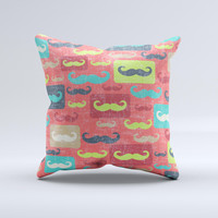 Vintage Coral and Neon Mustaches ink-Fuzed Decorative Throw Pillow