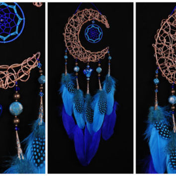 Blue Dream Catcher Moon Dreamcatcher Copper dreamcatcher agate dreamcatchers wall decor agate handmade gift idea Valentine's Day blue heart