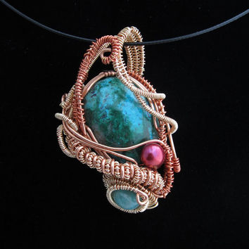 Wire Wrap Pendant with Chrysocolla cabochon Amazonite bead and pearl in Copper