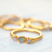 Raw Opal Ring / Opal Ring / Gold Ring / Stacking Ring / Solitaire Ring / October Birthstone / Triple Stone Ring
