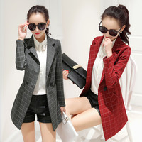 Women Suit Blazers Spring Autumn Plaid Jacket for Lady Slim Fit Notch Lapels Coat Outerwear Plus Size ALL6123