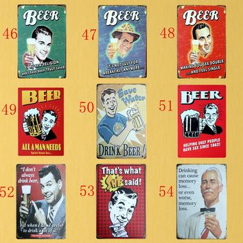 BEER MAN Tin signs Bar Metal painting Vintage Wall Plaque Craft