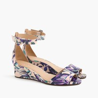 Laila leather wedges in floral : Women sandals | J.Crew