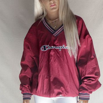 VINTAGE Burgundy Champion Windbreaker