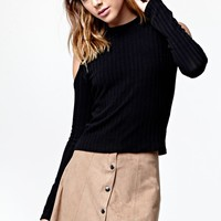 Kendall & Kylie Faux Suede Button Front Skirt - Womens Skirt