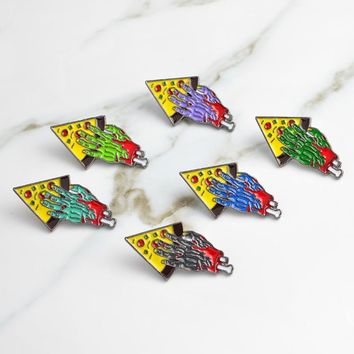 Zombie Sharing a piece of Pizza BFF Pins Brooch pizza party PU Hat Cap Jacket Pin Buckle Shirt Badge Friendship jewelry gift