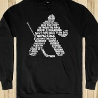 Hockey Goalie Typography, Dark Apparel Version