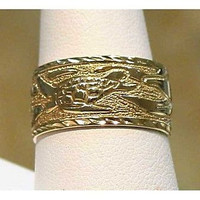 14K 10MM CUSTOM MADE HAWAIIAN SEA TURTLE & DOLPHIN RING