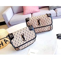 Free shipping-YSL letter printing chain packet canvas messenger bag Beige
