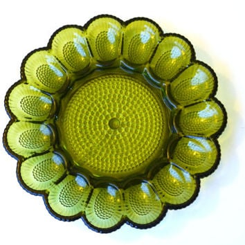 Vintage 1960s Deviled Egg Plate Green Hobnail Indiana Glass