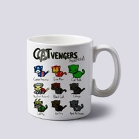 Cat Vengers Assemble Hero Mug Cup Two Sides 11 Oz Ceramics