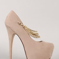 Hilton-18 Chain Almond Toe Stiletto Platform Pump