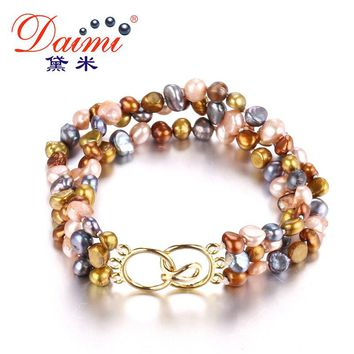 DAIMI Triple Pearl Bracelet 4-5mm Irregular Baroque Small Pearl Jewelry Beach Style 2 Color Brown Multi Green Multi Bracelet