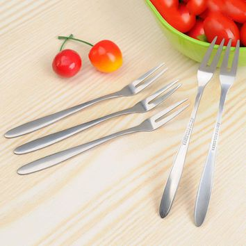 New Sale Function 2pcs Stainless Steel Cocktail Forks Tasting Appetizer Forks Cake Fruit Eating Forks High Quality