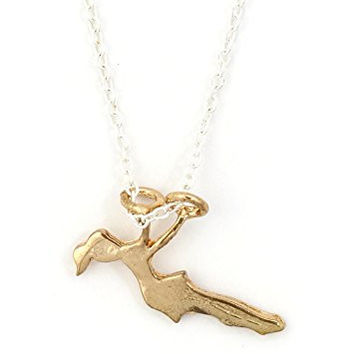 Flying Trapeze Girl Necklace Gold Tone NU35 Swinging Circus Woman Pendant Fashion Jewelry