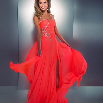 Mac Duggal Prom 2013- Neon Coral Gown With Embellishments - Unique Vintage - Cocktail, Pinup, Holiday & Prom Dresses.