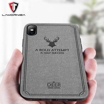 Lamorniea Case For iPhone 7 Deer Pattern Animal Leather Phone Soft Silicone Edge Cover For iPhone 7 8 6 6S Plus X Protect Case