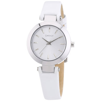DKNY NY8834 Women's Stanhope Silver Dial White Leather Strap Watch