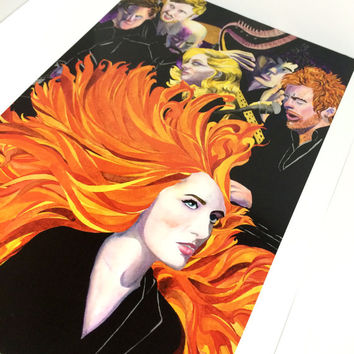 Florence and the Machine Watercolor and Ink Band Art Print, 8.5x11 Band Art Poster Florence Welch and Band, Graphic Rock Band Art Print