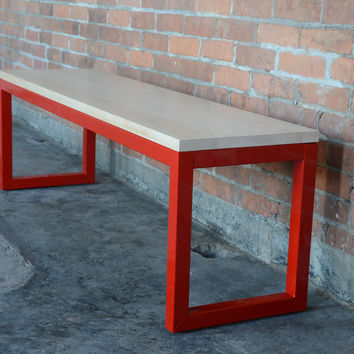 Loop Dining Bench - Includes Delivery - Shown in 54x14 Maple with Gloss Firehouse Red Steel Frame